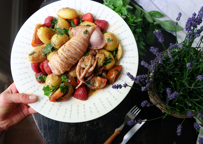 Sunday dish: potato pan with grilled squid